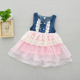 $enCountryForm.capitalKeyWord Canada - Girls Denim Dress Girl Flower Princess tutu Dresses Summer Children Sleeveless Vest Lace Dress Cowboy Net Yarn Casual Dress