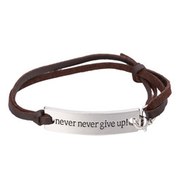 quote bracelets NZ - Wholesale- my shape Inspirational Quote Never Give Up Rectangle Engraved Charm Leather Bracelet Graduation Jewelry Gift for Women