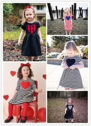 Robe Lolita Rouge Noire Pas Cher-Lovely Baby Dress Heart Black Red Stripe Medium Sleeve Girls Princess Dress Coton à manches courtes Jupe