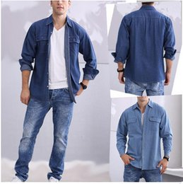 Barato Camisa Lavada Atacado-Atacado-New Men's Casual Moda Tide Washed Algodão Camisa de mangas compridas Men's Denim Shirt Alta Qualidade Brands New Men's Sweater