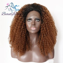 color lace wig NZ - 100% Brand New High Quality Fashion Picture full lace wigs>> 14Black Root Ombre Brown Color Kinky Curly Synthetic Lace Front Wig Party Wig