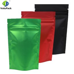 Recyclable fabRics online shopping - 100pcs x13cm x5 quot Recyclable Green Red Black Translucent Ziplock Storage Bags Metallic Mylar Zip Lock Stand Up Pouches