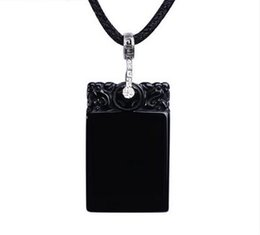 Chinese  2017 New Arrival Top quality black agate peace amulet jade Onyx pendant for man and women boyfriend girlfriend gift manufacturers