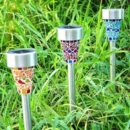 solar posts lights Canada - Solar Powered Lamp Solar Mosaic Border Garden Post Lights Garden Decoration Stake Light Solar Led Light Pathway Lawn Light Christmas Gifts