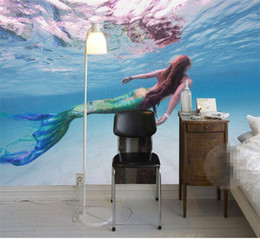 Custom printed photo baCkdrops online shopping - custom photo wallpaper for walls d Art HD Mermaid clear sea swim living room backdrop d large wall mural wallpaper