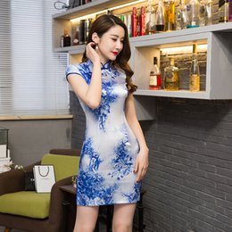 Sexy Chinese Mini Pas Cher-Shanghai Story robe chinoise manches courtes cheongsam qipao à faible profit Robe traditionnelle chinoise traditionnelle robe de style oriental