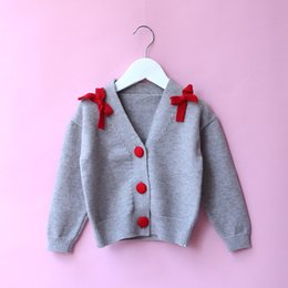 Mode Bow Bow Pas Cher-2017 Babies Knit Bow Sweaters Kids Girls Fashion Button Cardigan Baby Girl Out Out Outwear vêtements pour enfants