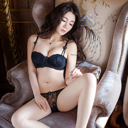 7031c8cc14 Sexy Women Bra Set ultra-thin Lace Embroidery Push Up Half Cup Bra And Panty  Set Underwear Black Plus Size Sexy Lingerie Set