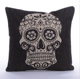 $enCountryForm.capitalKeyWord Canada - 45x45cm Skull Style Cotton Linen Cushion With Inner - Home Decor Sofa Chair Seat Decorative Throw Pillow Almofada cojines