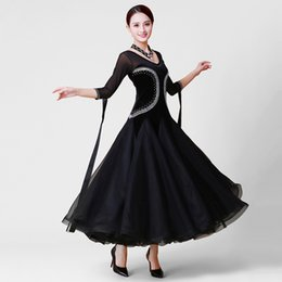 flamenco costumes Canada - Standard Ballroom Dance Dress Women Elegant Black Color Competition Dancing Costume Plus Size Waltz Tango Flamenco Dance Dresses