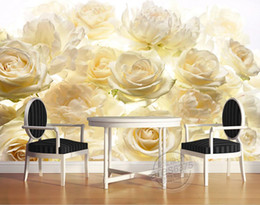 White 3d Rose Fabric Australia - Photo Customize size 3D Romantic white yellow rose mechanism effect mural TV wall