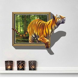 $enCountryForm.capitalKeyWord NZ - Free shipping New 3D tiger Wall Decal Adhesive removable cartoon Wall Stickers wallpaper Mural Art Home Decor