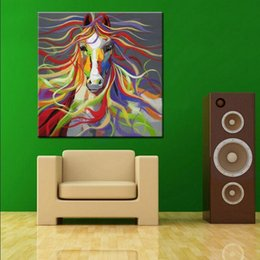 abstract art painting horses oils Canada - No Frame Hand-painted Modern Wall Art Pictures Living Room Home Decoration Abstract Horse Cartoon Animal Oil Paintings On Canvas