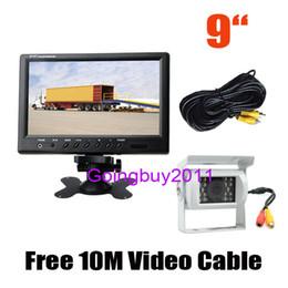 "Trucks Camera NZ - 9"" LCD Monitor Car Rear View Kit for Long Bus Truck + White 18 LED IR Reversing Camera Waterproof 10pcs lot"