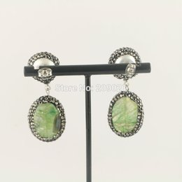 $enCountryForm.capitalKeyWord NZ - Charms ~ 5Pair Pave Rhinestone Crystal Agate Stone With Pearl Dangle Earrings Jewelry Finding