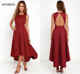$enCountryForm.capitalKeyWord NZ - High Low Bridesmaid Dress Wine Red Satin Wedding Party Gowns A-line Tank Sexy Open Back Formal Dresses
