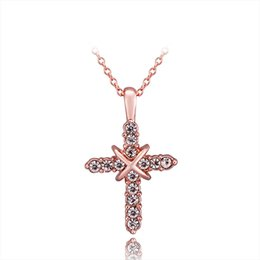 Chinese  Environment 18K Rose Gold Plated Cross Pendant Necklaces Shiny Diamond Cross Necklaces With Thin Chain Necklace New manufacturers