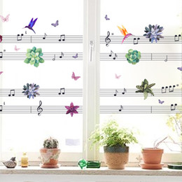 self stick flower decals 2019 - Music Notes Flower Happy Birds DIY Wall Art Stickers for Living Room Bedroom Kids Home Decor Decal Decoration
