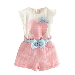 Chemises À Carreaux Pour Enfants En Gros Pas Cher-Vente en gros- Baby Kids Girls sans manches Heart Bows T-Shirt + Plaid Shorts Outfits Children Sets 71