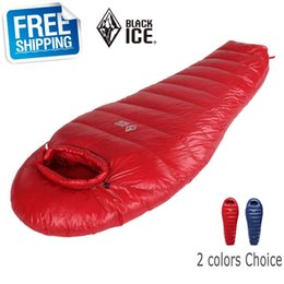 $enCountryForm.capitalKeyWord Canada - Wholesale- Black Ice G700 Blue Red Single Mommy Splicing Ultra-light Winter Outdoor Adult Goose Down Sleeping Bag with Carrying Bag
