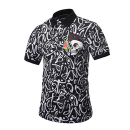 Barato Polo 3d-Skull Full 3D impresso polo homens Men Short Sleeve 2017 Verão New Streetwear Turn-Down Colar Hip Hop Homens Polo Top Man