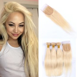 Human Hair Extensions 613 Weave NZ - Peruvian Straight Hair Weave Bundles With Lace Top Closures #613 Blonde 100% Human Hair Extensions LaurieJ Hair