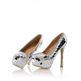 Chinese  Silver Glitter Women High Heels Cinderella Shoes Wedding Bridal Bridesmaid Shoes Prom Evening Night Club Party Super High Heels manufacturers
