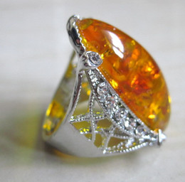 $enCountryForm.capitalKeyWord Canada - NEW best miao silver ring inlay yellow amber fashion jewelry Free shipping wholesale and retail