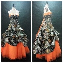 Blouses De Camouflage Pas Cher-Robe de bal personnalisée Sweetheart Ball Prom Camo Orange Jupe en tulle Lace Up Back Formal longue drapée Camouflage Field Country Party Gowns
