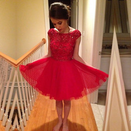 69438b818 Vestidos de fiesta de escote redondo Vestidos de graduación de 8vo grado  Vestidos de fiesta rojos Vestidos de fiesta mini con cuentas