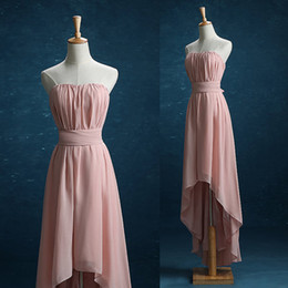 $enCountryForm.capitalKeyWord Australia - Real Pictures Dusty Rose Strapless Bridesmaid Dress High-low Chiffon Pleats Party Dress with Sash Prom Dress