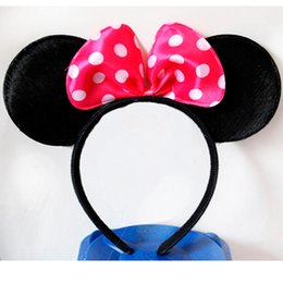 Bandeau De Tête Minnie Pas Cher-Grossiste-30pcs / lot Tissu mignonne Mickey Minnie Mouse oreilles Hairdbands belle Black Pink bow féshion partie anniversaire bandeau fournitures