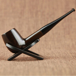 pipe ceremony NZ - New Ebony Wood Smoking Pipe Wooden Pipe High Quality Gift Pipe