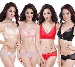 Discount 38b lace bra - New women sexy lace breathable bra set female popular underwear black pink skin red no70