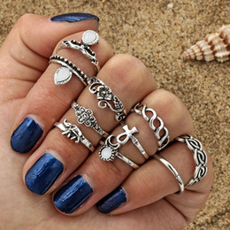 $enCountryForm.capitalKeyWord NZ - 10 pcs set hot selling moon flower elephant joint ring set antique silver plated vintage bohemian turkish fashion women accessories
