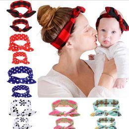 $enCountryForm.capitalKeyWord Canada - 6styles Mom & Baby Rabbit Ears headband set cute Bow Headband Hair Ornaments Stretch Knot Cross Bow Headbands Hair Accessories 2PC Set