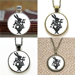 silhouettes glasses 2019 - 10pcs Alice In Wonderland White Rabbit Silhouette Glass Photo Necklace keyring bookmark cufflink earring bracelet cheap