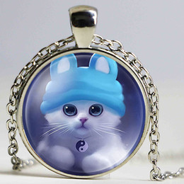 $enCountryForm.capitalKeyWord Australia - Chains High Quality Girls Silver Plated Cute Cat Glass Pendant Necklace For Women Hot Sale Lovely Kids Cat Necklace Jewelry