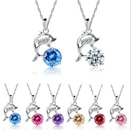Wholesale zircon diamond dolphin necklace pendant clavicle chain dolphin bay crystal necklace pendant colors