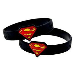 $enCountryForm.capitalKeyWord NZ - Wholesale 50PCS Lot Fashione Bracelet Watch Shape Ink Filled Superman Logo Silicone Wristband Adult Size Black