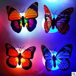Original 5pcs Lights & Lighting Novelty Colorful Changing Butterfly Night Light With Bottom Sticker Children Room Home Fridage Party Desk Wall Decorative