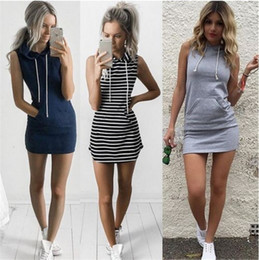 Wholesale womens summer dress shirts resale online – 2017 Fashion Women Sexy Summer Bandage Bodycon Evening Party Cocktail Casual Short Mini Dress Womens Clothing Stripe Hooded Sleeveless Dress