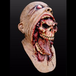 cheap adult horror halloween cosplay latex costume bloody zombie mask melting full face walking dead scary carnival mardi gras party masks
