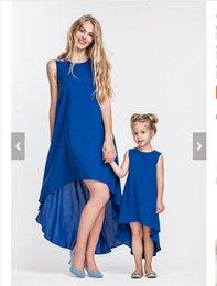 Barato Trajes Boêmios-2017 Bohemian Mother Kids Family Matching Outfits Meninas Traje de tornozelo Crew Neck blue Solid mother daughter dresses