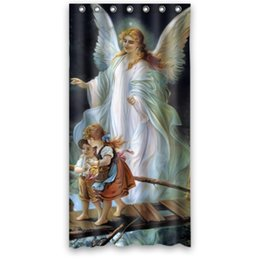 $enCountryForm.capitalKeyWord UK - Customs 36 48 60 66 72 80 (W) x 72 (H) Inch Shower Curtain Angel and Children Crossing Bridge Polyester Fabric Bath Curtain