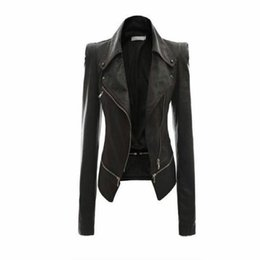 Wholesale- Women Leather Jacket Rivet Zipper Motorcycle Jacket Turn Down Collar chaquetas mujer Argyle pattern Leather Jacket S-3XL on Sale