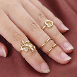 Beach Rings NZ - Summer Beach Jewelry Ring Set Silver Gold-Tone Leaves + Heart Knuckle Rings Inlay Clear Rhinestone Boho Ring For Women
