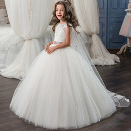 $enCountryForm.capitalKeyWord Canada - Princess Long Puffy Tulle Prom Dress Children 8 10 12 Kids Evening Gown with Lace Cape Pink Beaded Sash Flower Girl Dresses 2017