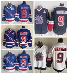 75th jersey Canada - Vintage New York Rangers Hockey Jerseys Adam Graves 75th Anniversary Blue Vintage CCM Mens #9 Adam Graves Stitched Jerseys A Patch S-XXXL