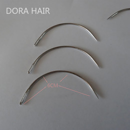 Discount hair extension sewing - Wholesale-1 bag 144pcs 6CM C Shape Curved Needles Threader Sewing Weaving Needles for Human Hair Extension Weft Weaving